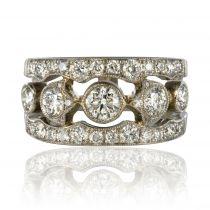Bague platine diamants bandeau