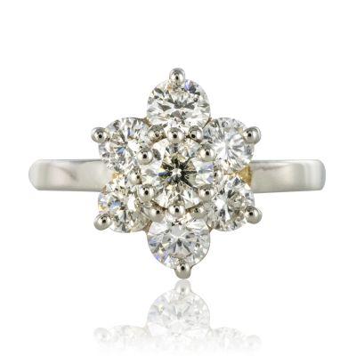 Bague platine diamants marguerite