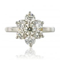 Bague platine diamants marguerite