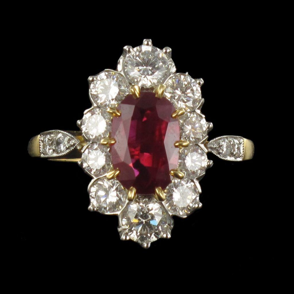 Bague pompadour rubis et diamants G 28