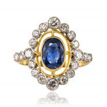 Bague pompadour Saphir et Diamants