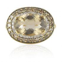 Bague quartz fumé diamants blancs et diamants cognacs