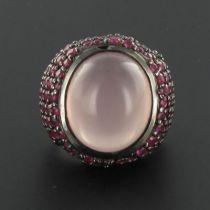 Bague quartz rose et rubis
