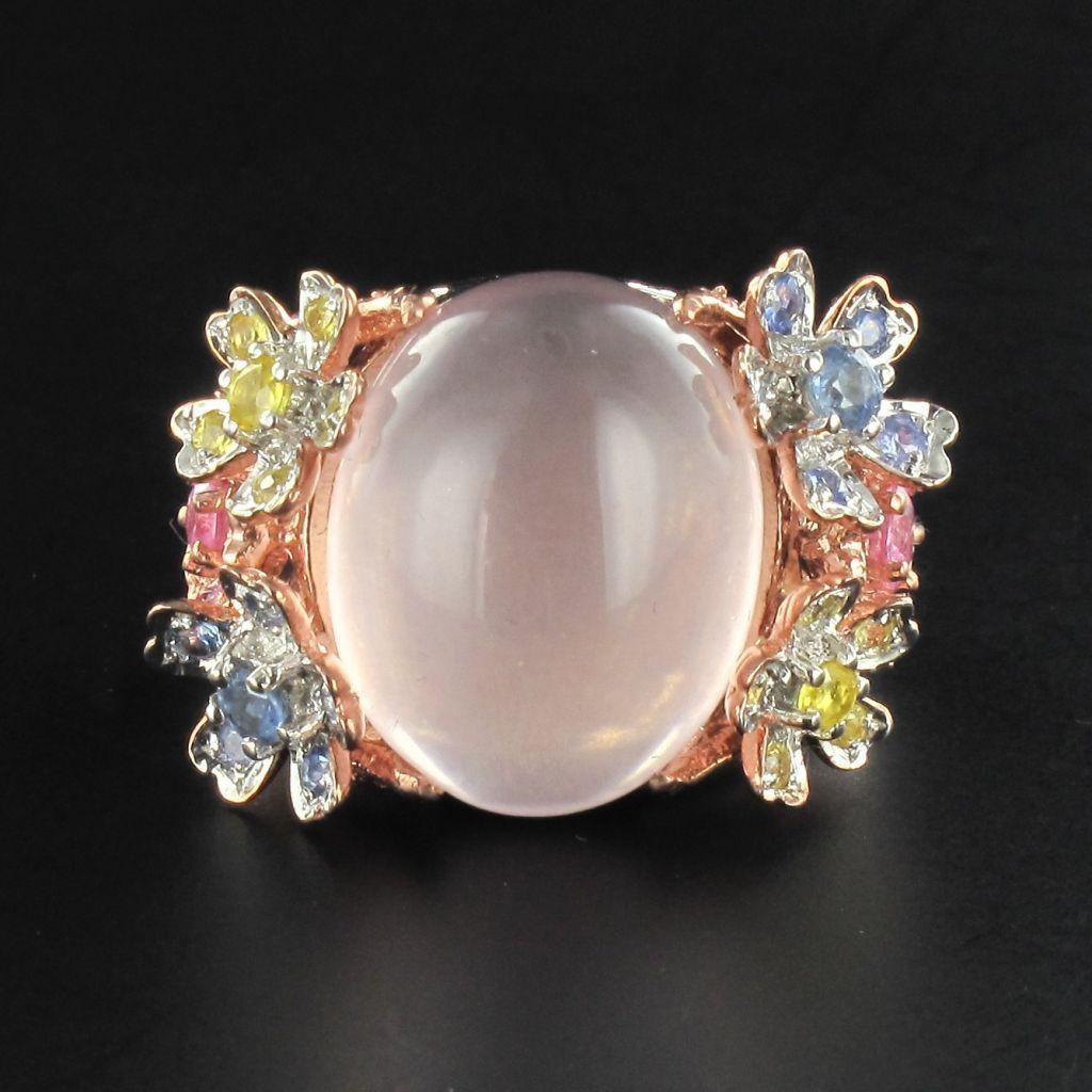 Bague quartz rose et saphirs