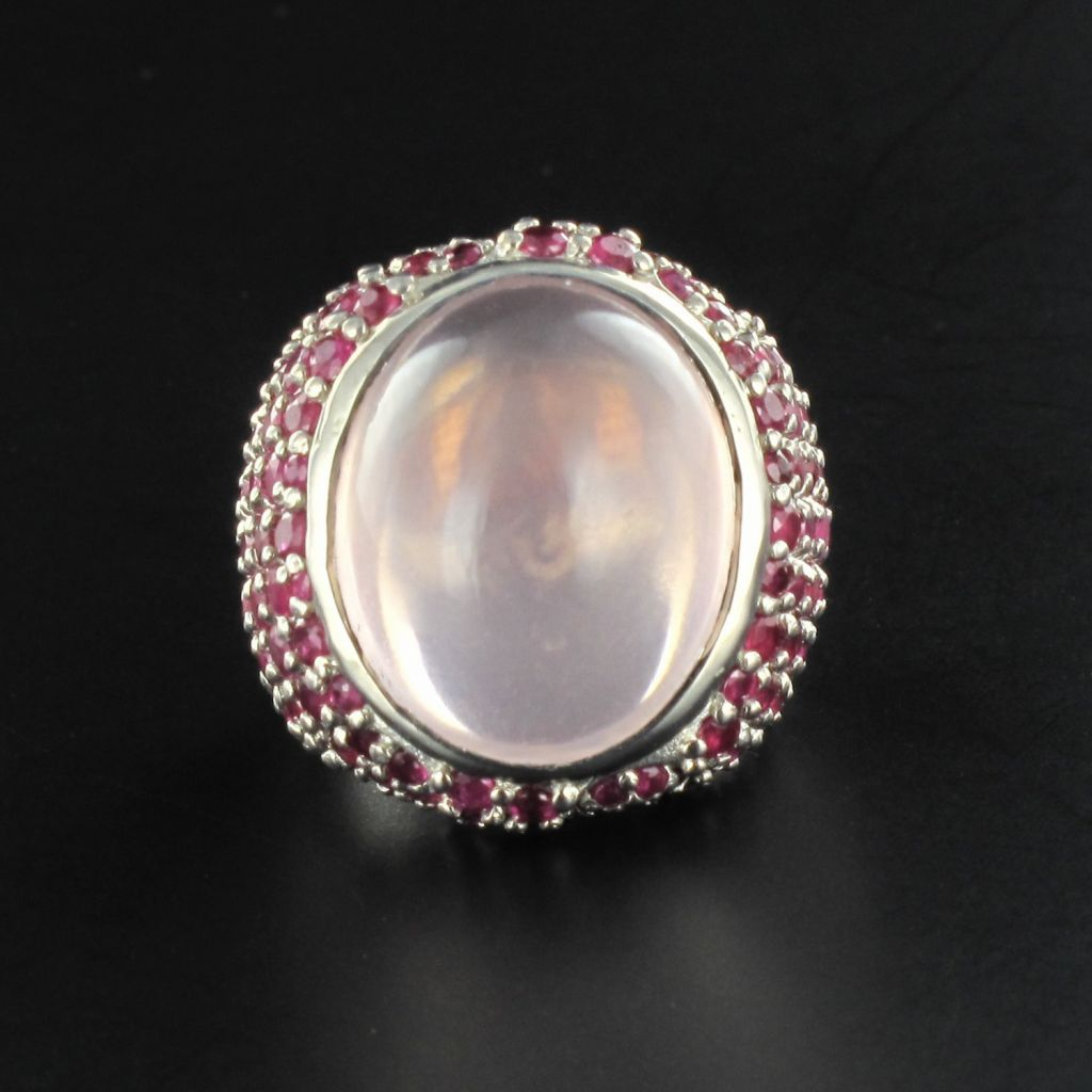 Bague quartz rose saphirs roses