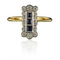 Bague rectangulaire Saphirs et Diamants
