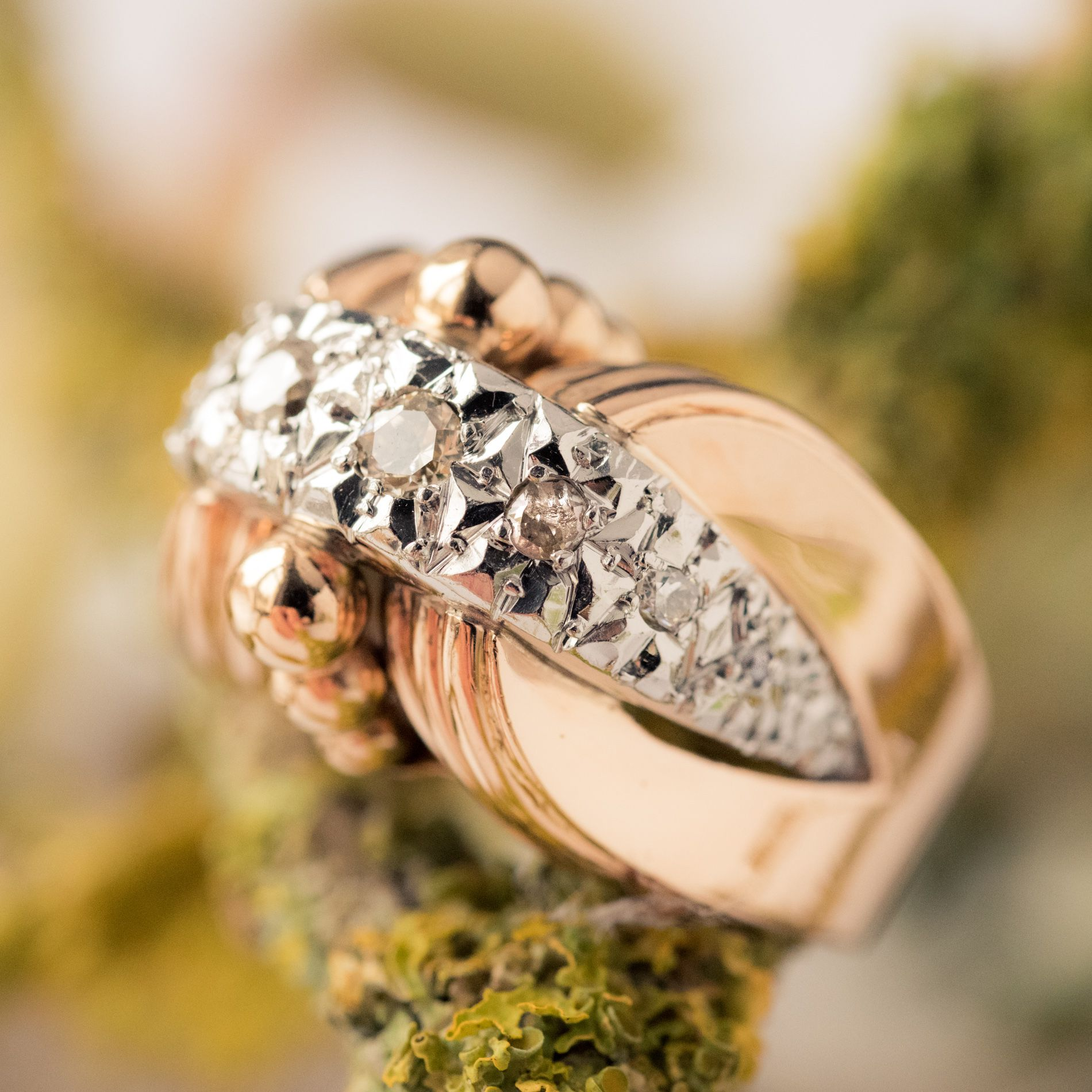 Bague rétro ancienne diamants