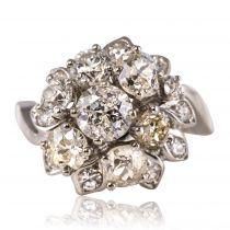 Bague rétro diamants bouquet