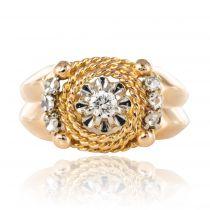 Bague rétro diamants et sa cordelette d\'or