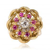 Bague rétro diamants rubis et fils d\'or entrelacés