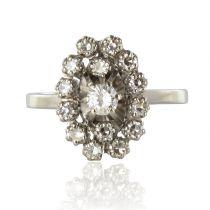 Bague rétro or blanc diamants