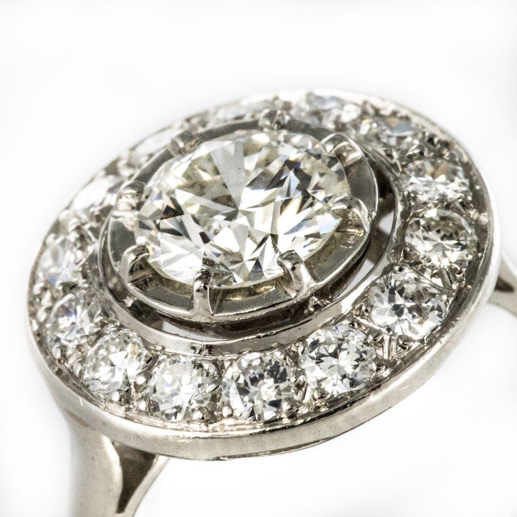 Bague ronde diamants art déco
