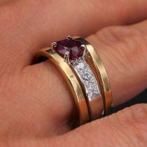 Bague rubis diamants 2 ors