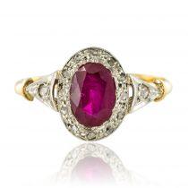Bague rubis diamants ancienne