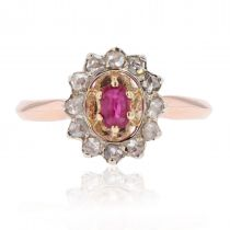 Bague rubis diamants marguerite