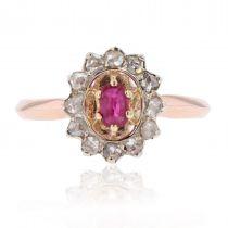 Bague rubis diamants marguerite