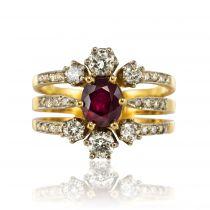 Bague rubis et diamants, 3 anneaux