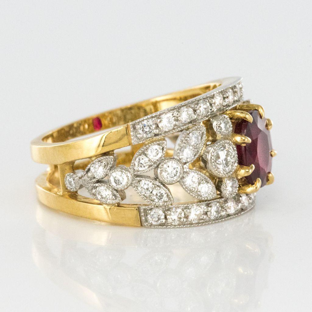 Bague rubis et diamants, bandeau