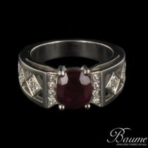Bague Rubis et Diamants, Or blanc