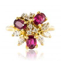 Bague rubis et diamants asymétrique
