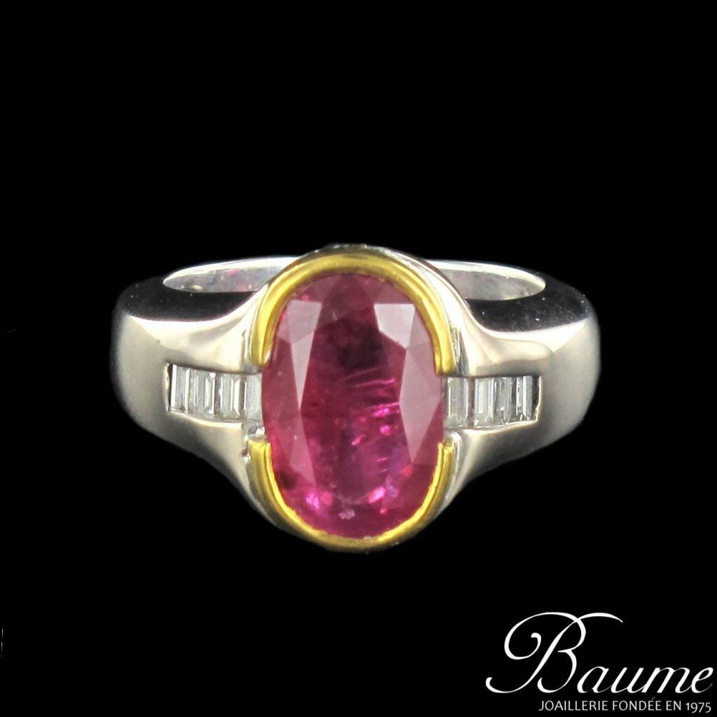 Bague rubis et diamants baguettes
