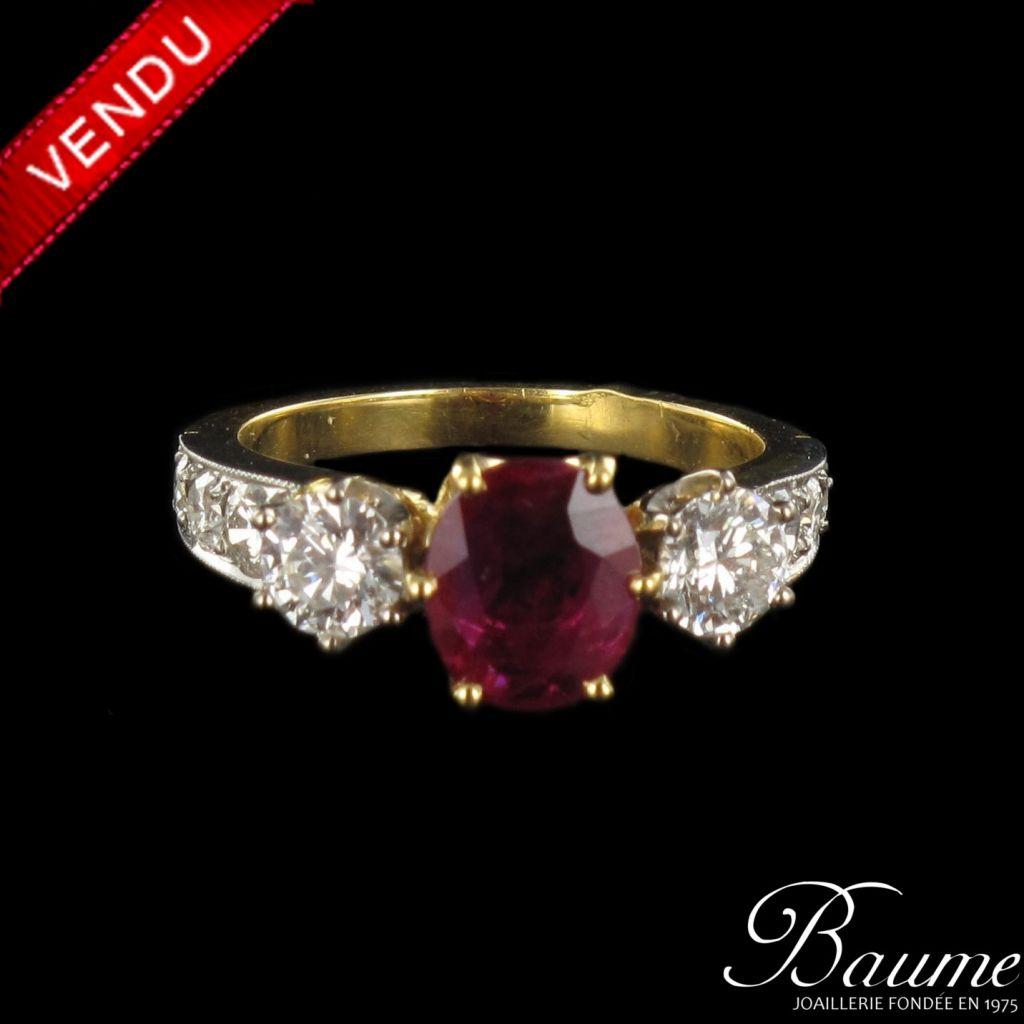 Bague Rubis et Diamants jarretière