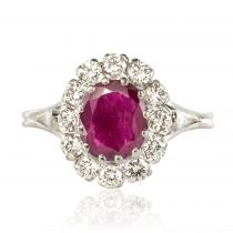 Bague rubis et diamants marguerite