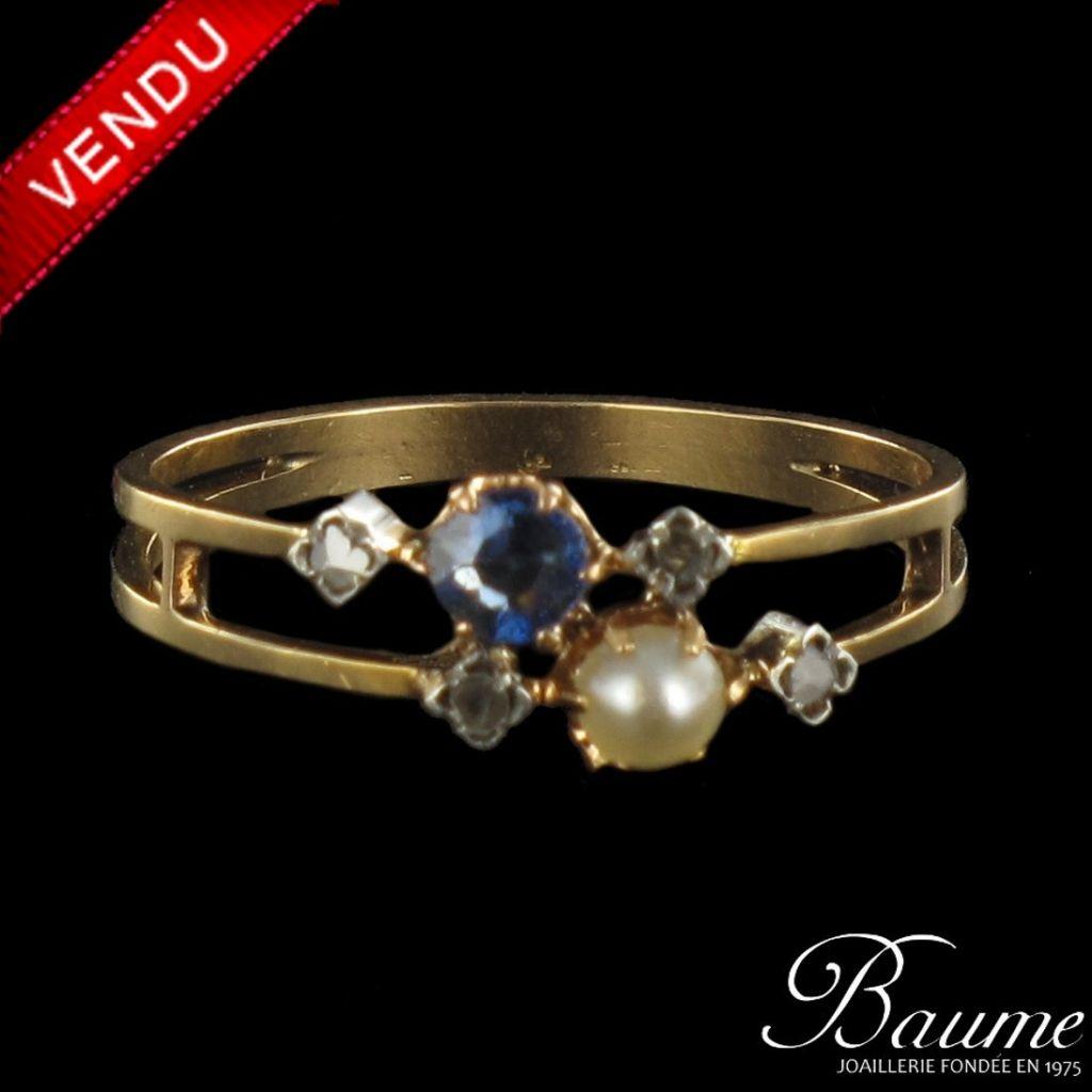 Bague saphir, perle fine et diamants