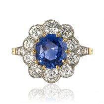 Bague saphir bleu et diamants