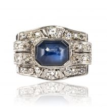 Bague saphir cabochon diamants art déco