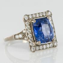 Bague Saphir de Ceylan et Diamants Art déco