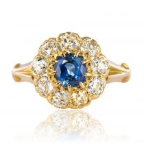 Bague saphir diamants en marguerite