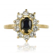 Bague saphir diamants or jaune