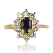 Bague saphir diamants or jaune