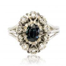 Bague saphir diamants pompadour