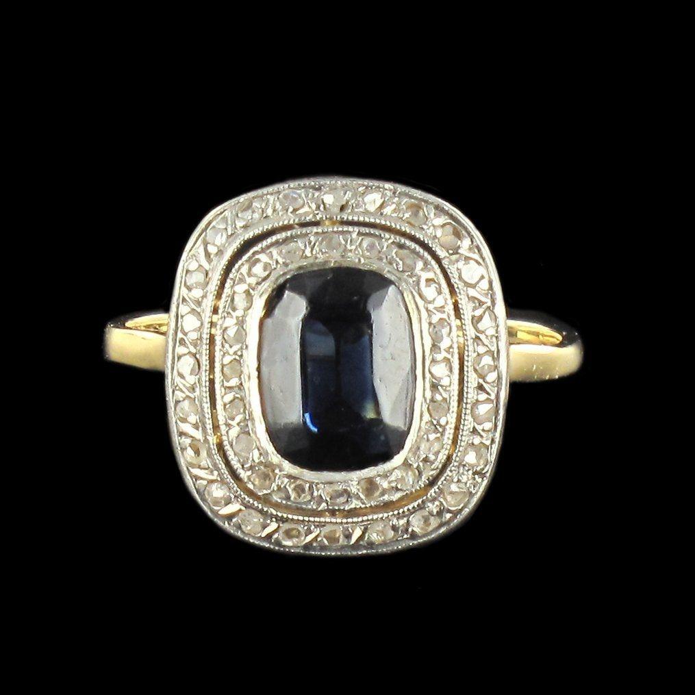 Bague saphir et diamants 1930