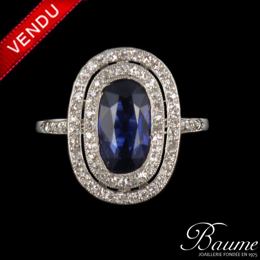 Bague Saphir et Diamants Art Déco