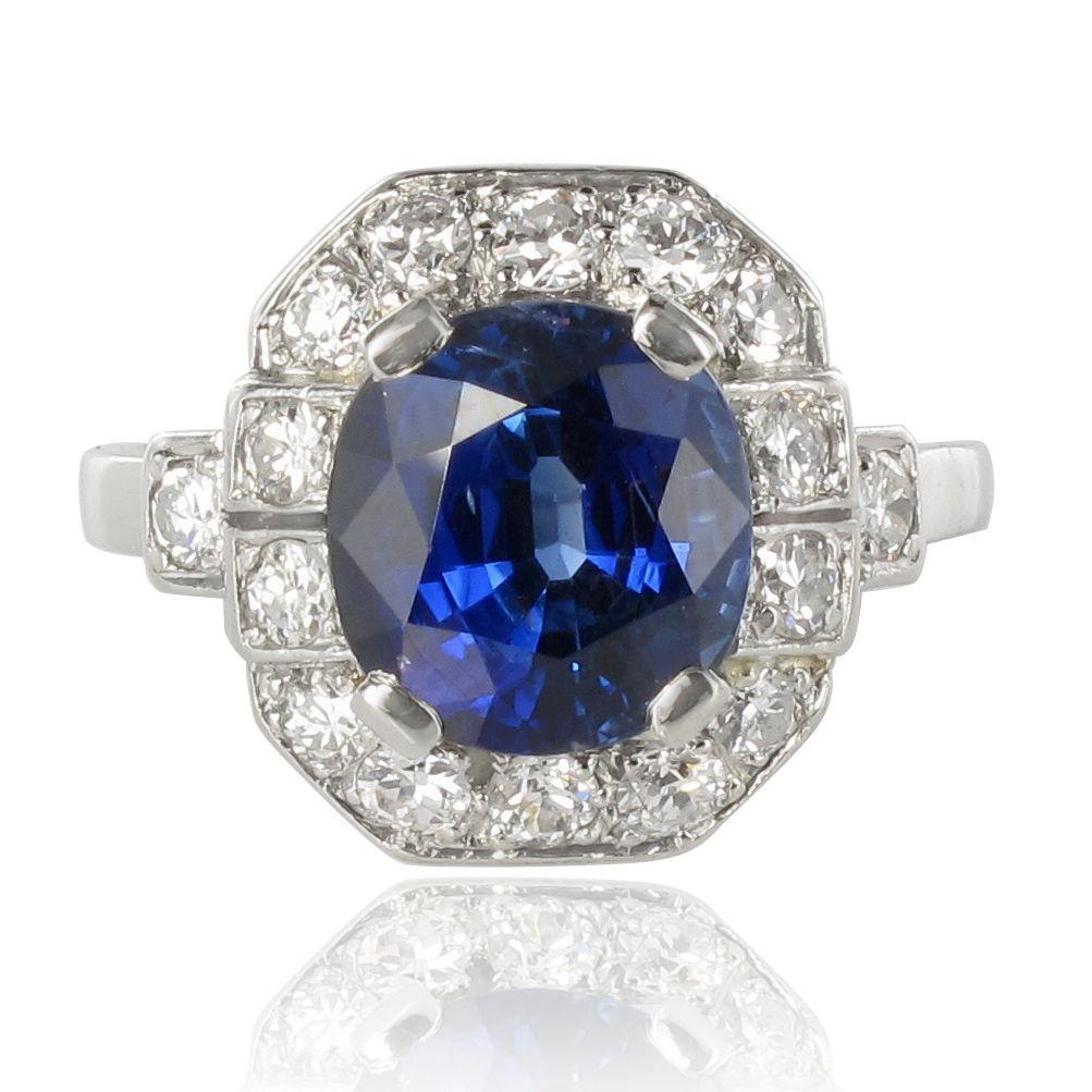 bague saphir diamants art d co bague de fian ailles saphir bijouxbaume. Black Bedroom Furniture Sets. Home Design Ideas