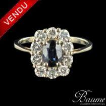 Bague saphir et diamants brillants