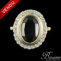 Bague Saphir et Diamants d 'occasion