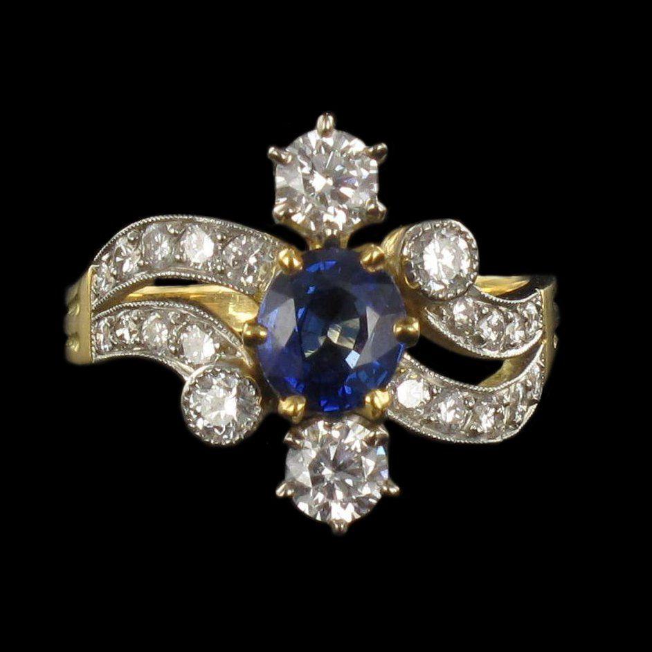 Bague saphir et diamants esprit XIXème siècle G 19