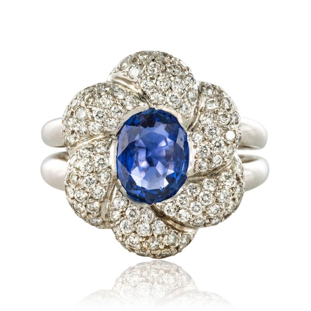 Bague Saphir et Diamants fleur