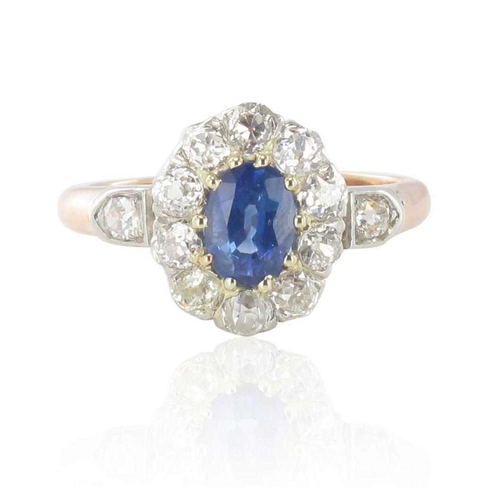 Fabuleux Bague saphir diamants marguerite ancienne - Bague de fiançailles FY75