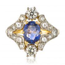 Bague saphir et diamants or jaune et platine