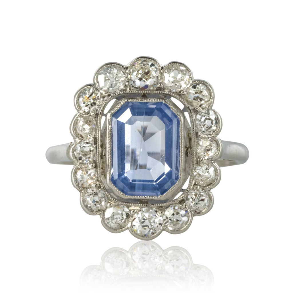 Bague saphir et diamants platine