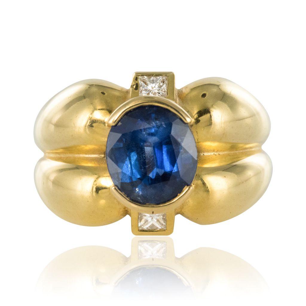 Bague Saphir et Diamants polylobée