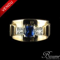 Bague Saphir et Diamants tank