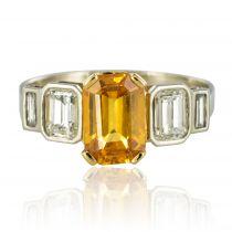 Bague saphir jaune et diamants