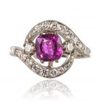 Bague saphir rose diamants tourbillon