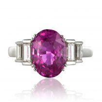 Bague Saphir rose et Diamants baguettes